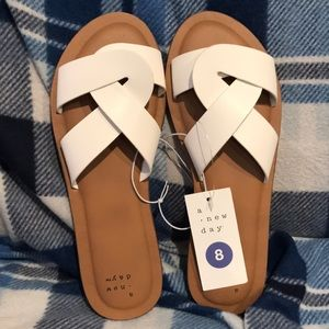 NWT White slide sandals size 8